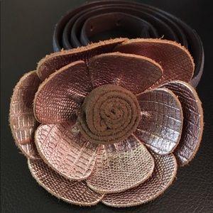 LOFT 100% Genuine Leather Skinny Shiny Flower Belt